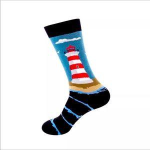Lighthouse funny socks for men
